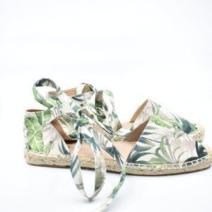 Tropical Canvas Ankle Laces Espadrilles